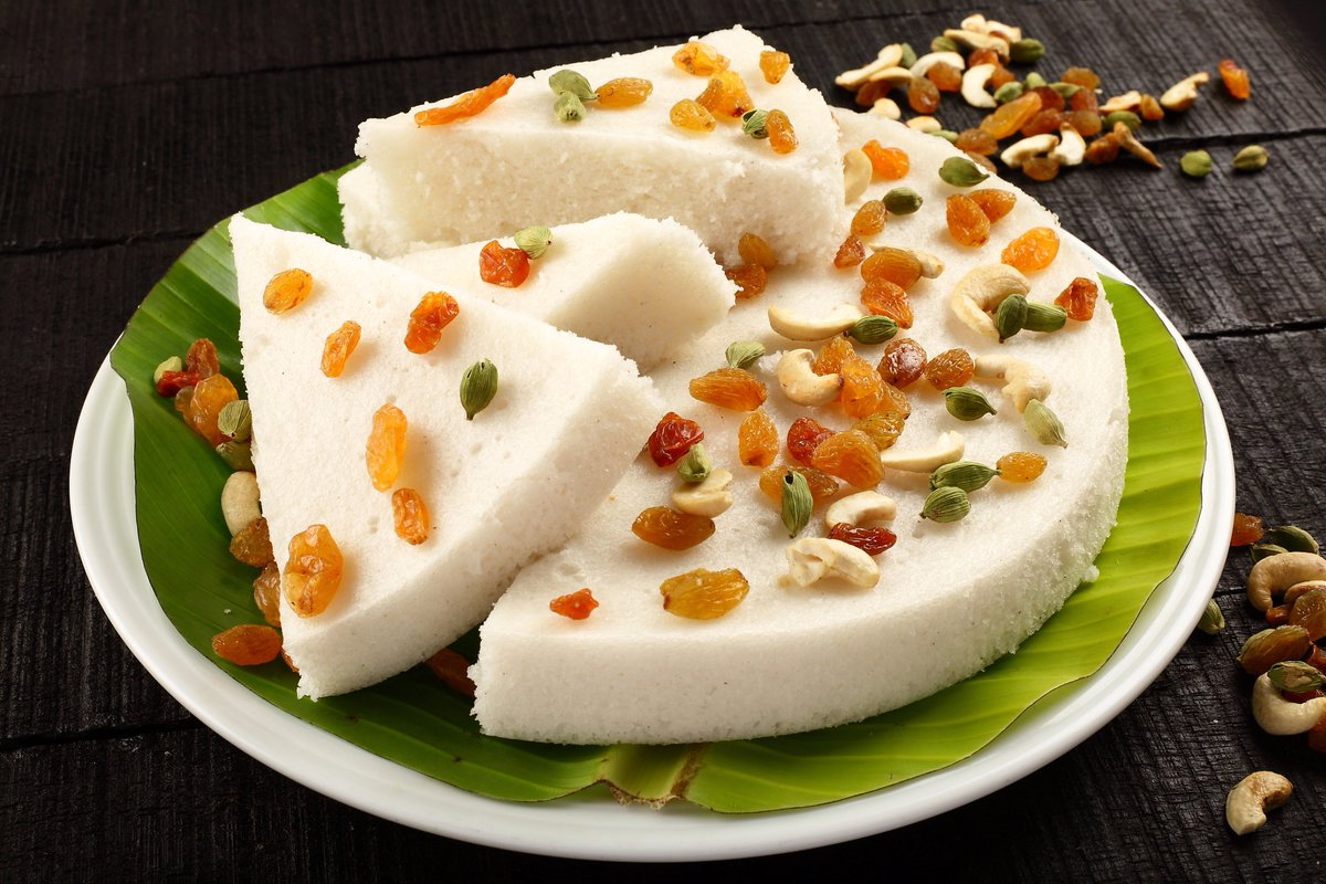 Vattayappam, a fermented steamed rice ca...