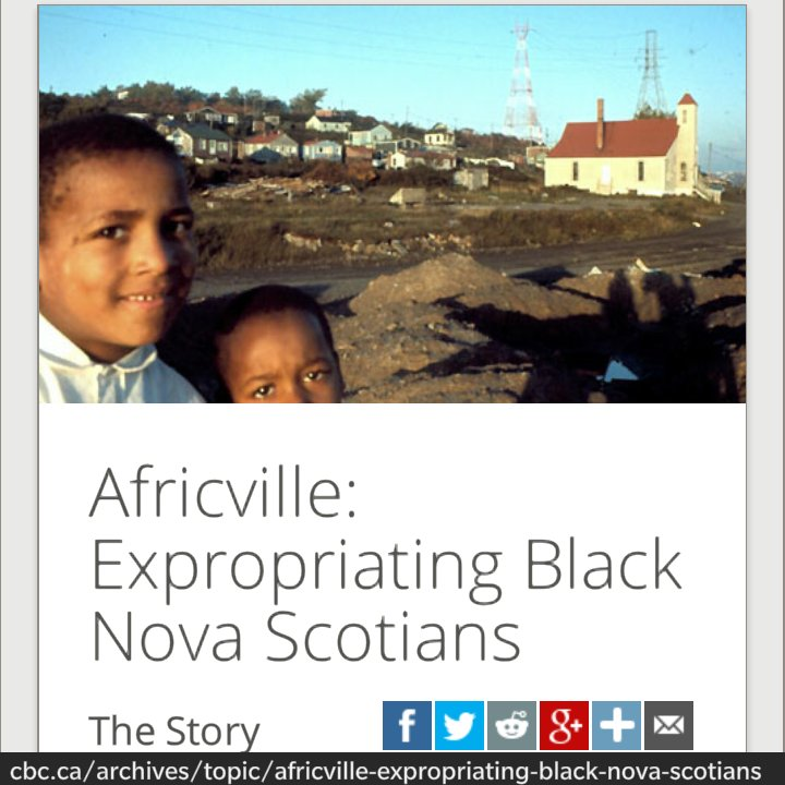 Africville: A Community Destroyed by #NovaScotia Racism  http://www. cbc.ca/radio/rewind/a fricville-a-community-destroyed-1.2919404 &nbsp; …  via @cbcradio #canada150  #cdnpoli <br>http://pic.twitter.com/xkEWFVBjbL