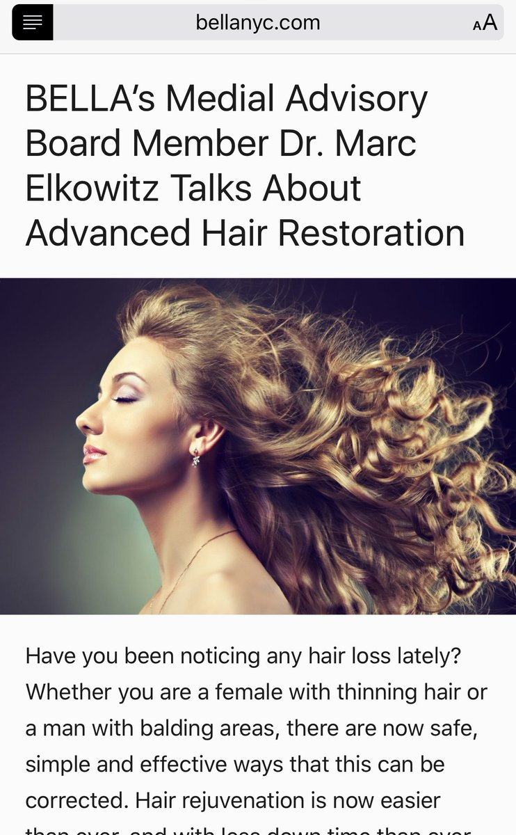 Dr. Marc Elkowitz talks about advanced #hairrestoration with #BellaMagazine ! #Psofny #plasticsurgery #newme #nyc   http:// ow.ly/xTKR30cVLr6  &nbsp;  <br>http://pic.twitter.com/dXJQiXI2KA