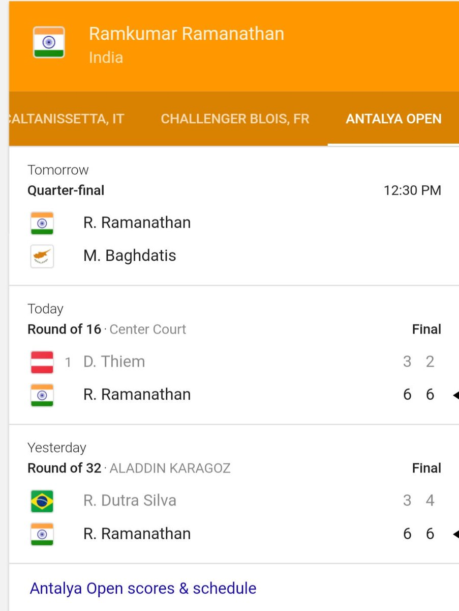 Incredible effort @ramkumar1994 to beat a Top 10 @ATPWorldTour player &amp; #FrenchOpen Semi-Finalist, #Thiem!!! Proud moment for #India! #Upset<br>http://pic.twitter.com/LEwZB94Z88
