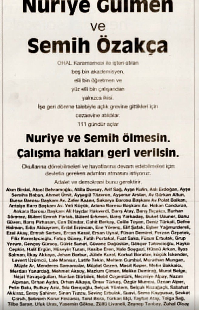 Two academics are dying on hunger strike in #Turkey 111 artists signed this urgent petition #NuriyeSemih @englishpen<br>http://pic.twitter.com/NzdVsv5U1D