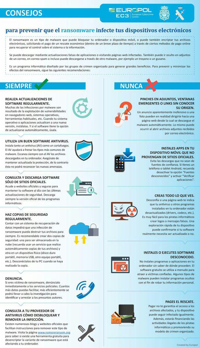 ⚠️⚠️⚠️Sigue estos consejos para que el #Ransomware no infecte tus equi...