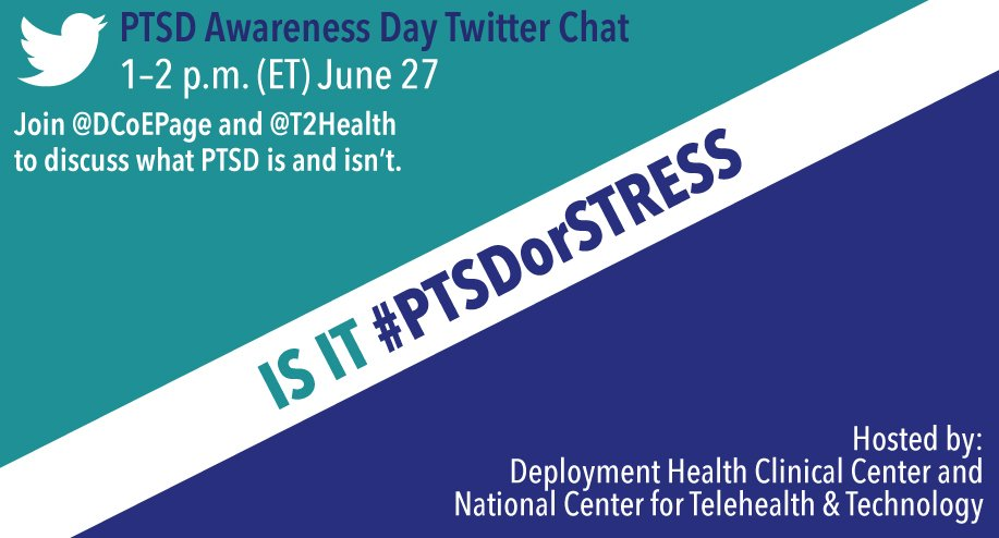 Good afternoon! We're here at DCoE HQ in Maryland, getting ready for our #PTSDorStress chat, coming up in 10 minutes. https://t.co/xKDe72cBos