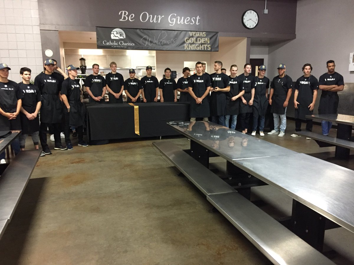 Thank you to @goldenknights for serving at Catholic Charities. Already...