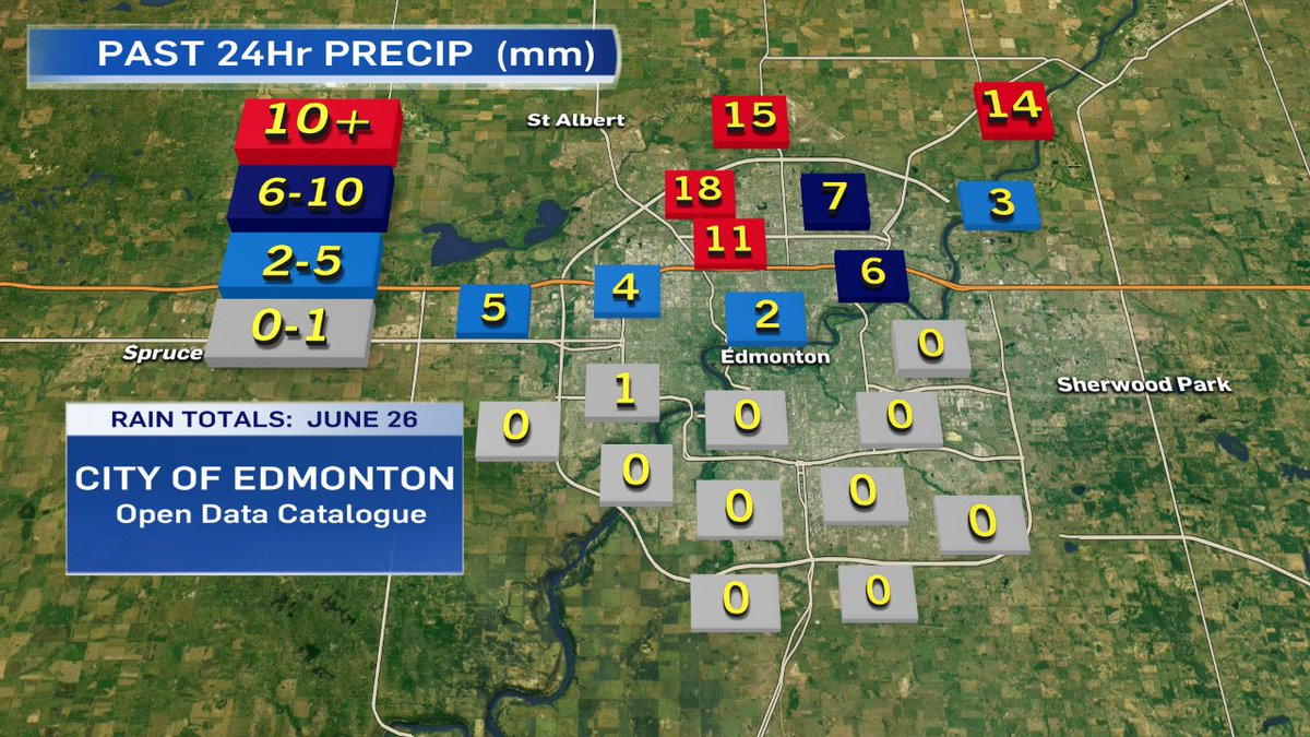 Storm Recap - rainfall totals from City of Edmonton : 10-20mm on north...