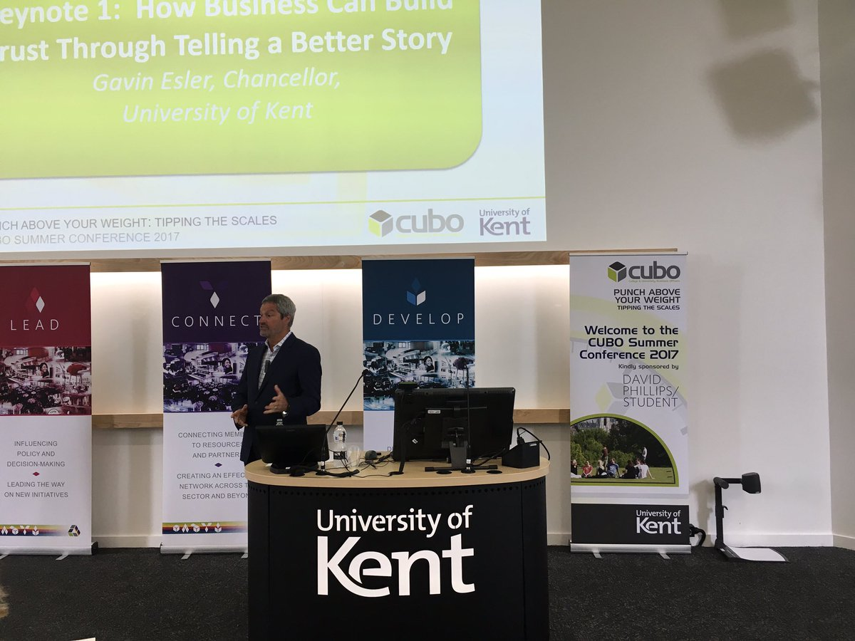 Our opening Keynote Speaker @gavinesler telling stories to build trust #CUBOSUMMERCONF17 @UniKent #deliver #lead #connect #develop <br>http://pic.twitter.com/3wEhkErzjW