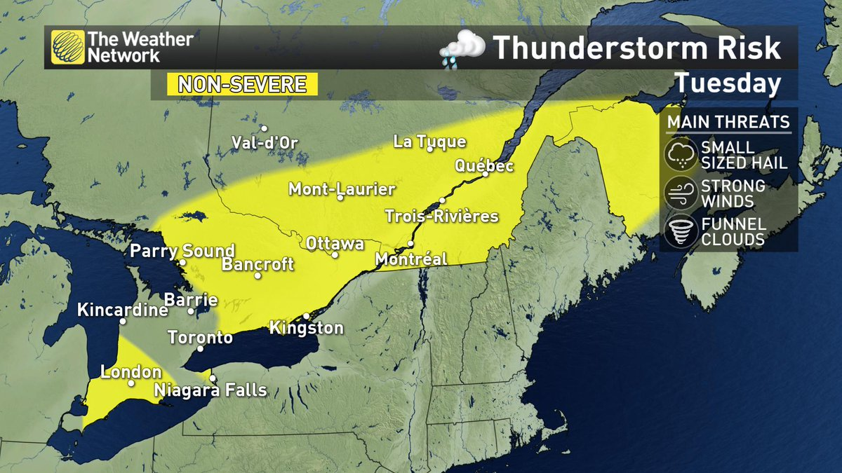 Storm risk shifts east into eastern #Ontario, southern #Quebec Tues. Sneak peek at #Canada150  weekend forecast here.  http:// ow.ly/Yc0L30cVASg  &nbsp;  <br>http://pic.twitter.com/yEZU2l1ho6