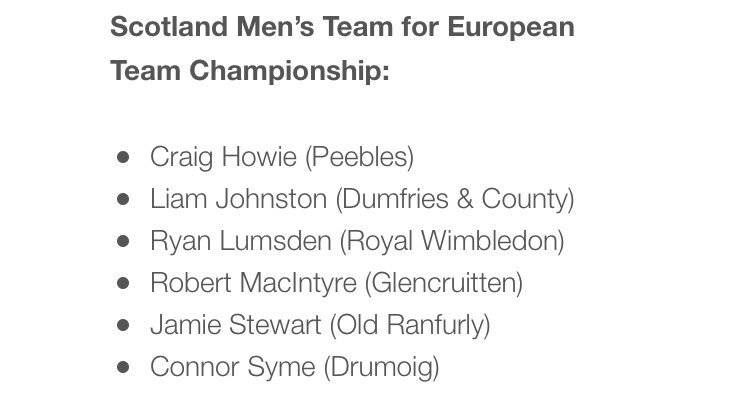 Wooo!! HUGE congrats to #Mizzou freshman @Jamie_Stewart99 for making the @ScottishGolf men&#39;s team for the European Team Championship! #MIZ<br>http://pic.twitter.com/tiIzDgCsRR