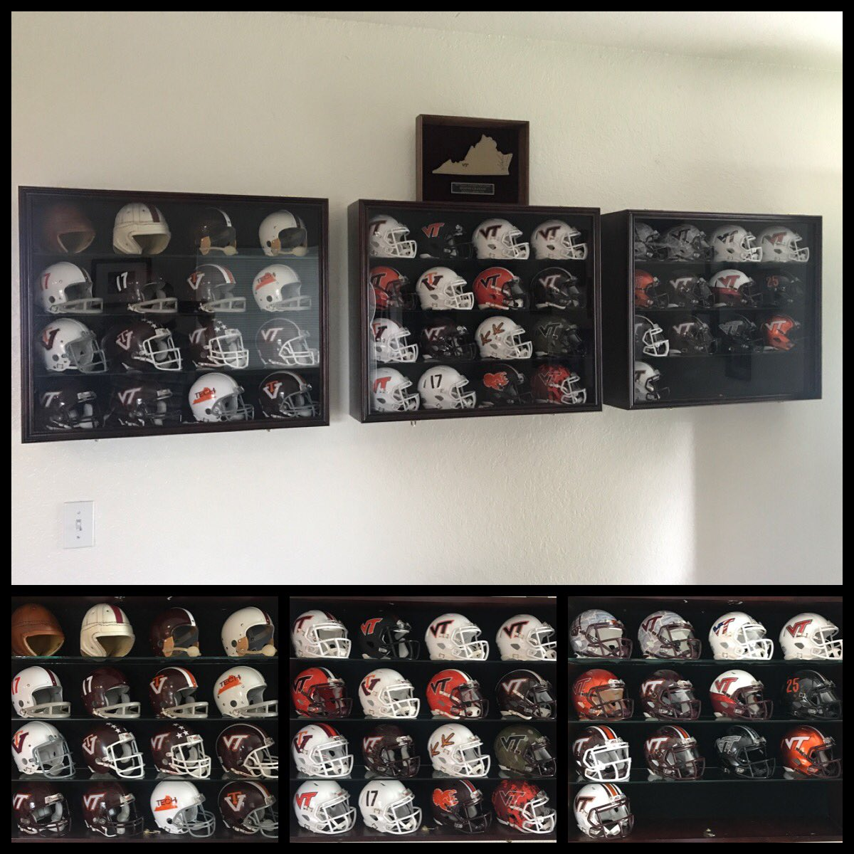 5a19ca499 Recently finished my custom timeline of my alma mater Va Tech mini helmets.  No detail left behind.pic.twitter.com/qYPshwddch