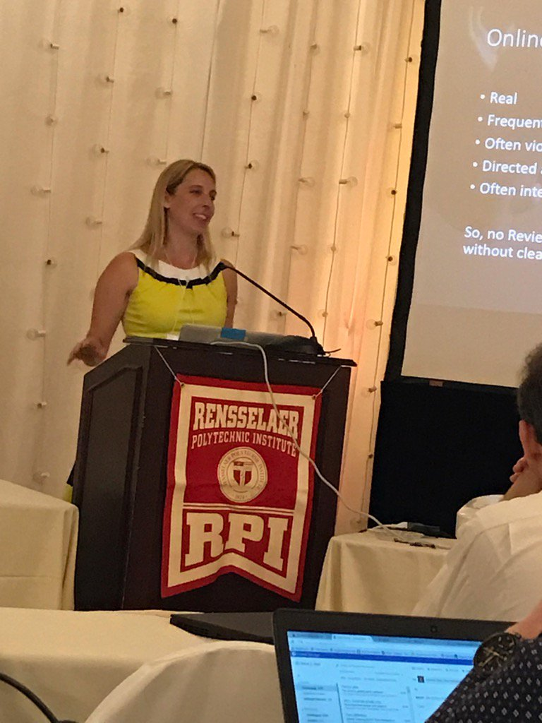 Social Media rock star, @jengolbeck gives keynote at #WebSci17 talking about online harassment #rpi https://t.co/bmIDEQyz2e