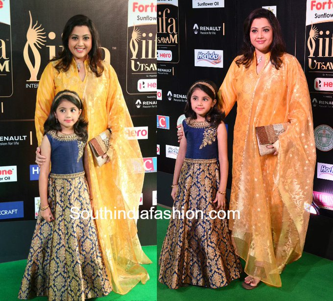 Meena with her daughter Nainika at the IIFA Utsavam Awards • South India Fashion