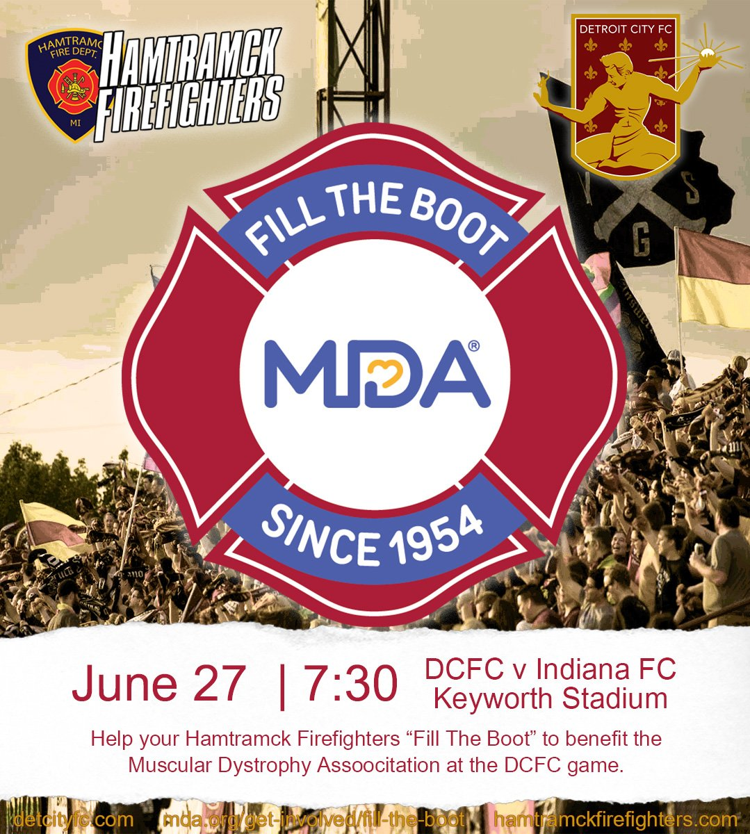 Today at @DetroitCityFC help Fill the Boot for @MDADetroit. #hamtramck #mda #filltheboot #iaff #dcfc #detroitcity #football #soccer #DCTID<br>http://pic.twitter.com/fs2eVu4fKM