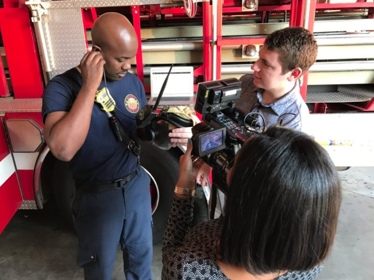 Got to check out @GTFireHUD, a device created by Georgia Tech students to help firefighters. We'll show it to you this AM on #AtlantaAlive
