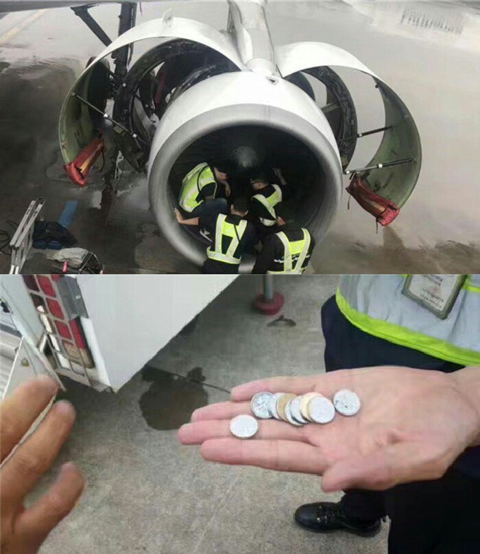 China Southern Flight 380 was delayed at Shanghai Pudong Int'l Airport on Tues after an elderly woman threw coins into the engine for luck..