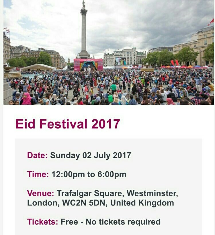 #INFO @HarrisJOfficial is going to perfoming for #EidFestival2017 in Trafalgar Square , Central London on July 2nd! Free tickets to turn up!<br>http://pic.twitter.com/EiMq6gXGlq