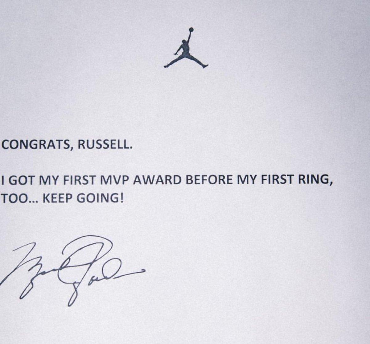Michael Jordan has a message for Russell Westbrook (via @Jumpman23) ht...