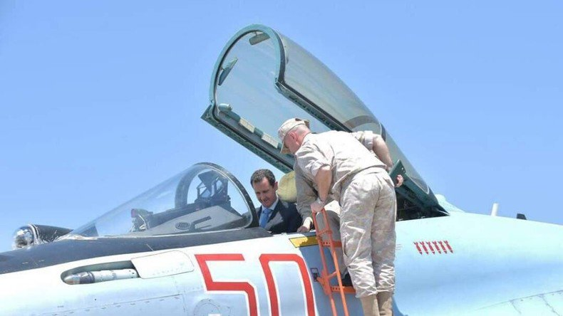 Today the #Syrian President Bashar Al #Assad visited the #Russian airbase Hmeymim located in the South-East of the city #Latakia,#Syria. <br>http://pic.twitter.com/RkjLK66UdH