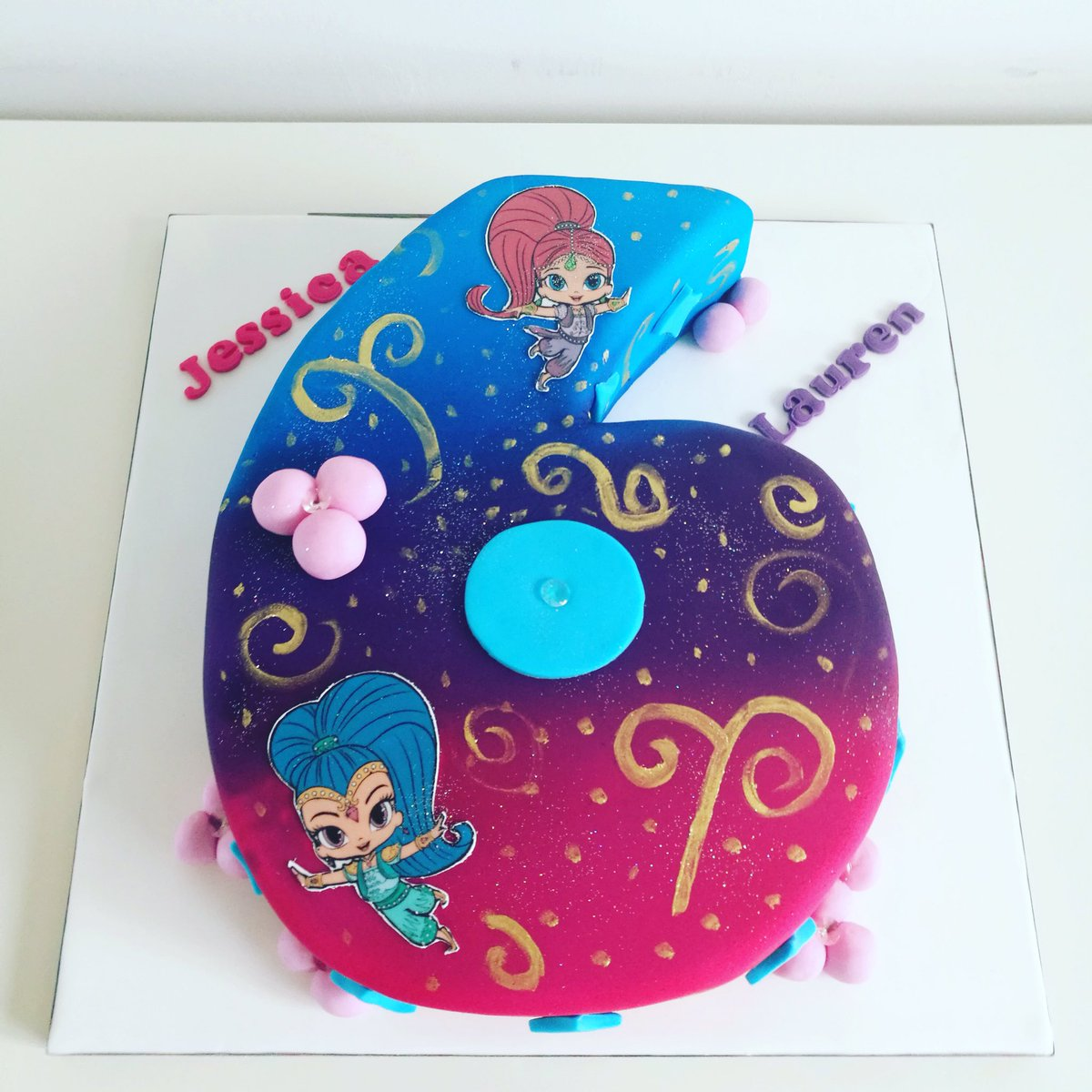 Siobhan On Twitter Shimmer And Shine Number 6 Ruby Wedding Cake