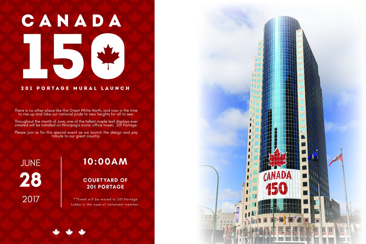 Canada 150 Mural officially unveiled tomorrow morning at 201 Portage! Please join us and help spread the word!  #Canada150  <br>http://pic.twitter.com/IheQIDAOmt