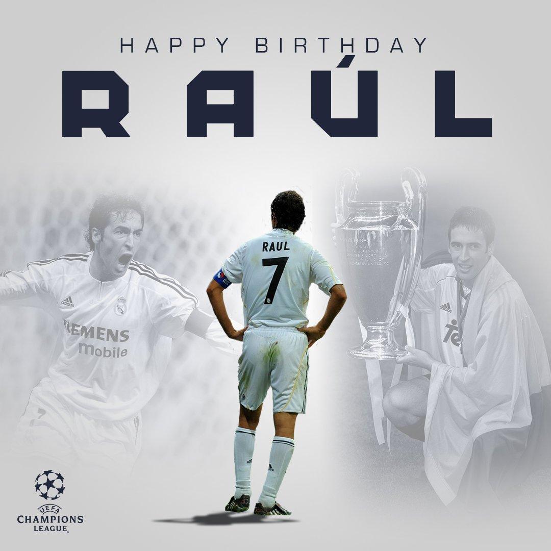 Happy th birthday to @realmadrid &amp; #UCL icon @RaulGonzalez!  #UCL record:  142  71   97/98, 99/00, 01/02   <br>http://pic.twitter.com/PjFqSeqKL1