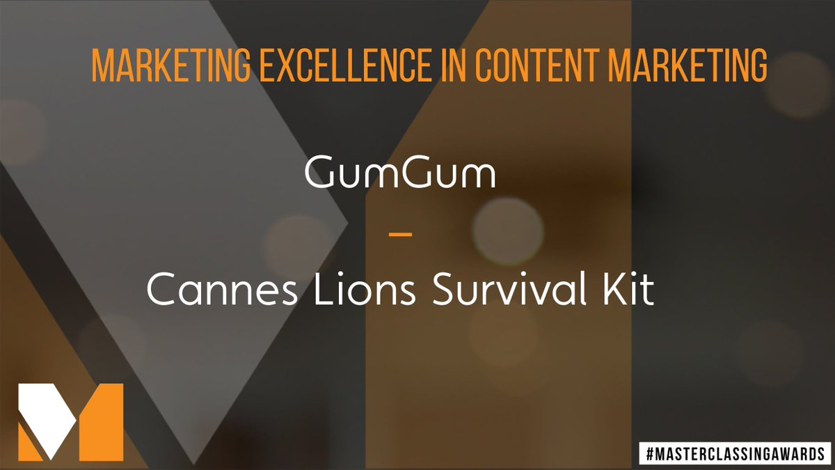 The penultimate award for #Marketing Excellence in #ContentMarketing goes to @GumGum for their #Cannes Survival kit! #Masterclassingawards<br>http://pic.twitter.com/ZCnsiC8JMx