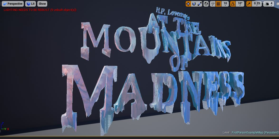 Playing around with some ice shaders for #UE4 for use in #AttheMountainsofMadness #AMOM #gamedev #indiedev #horror #VR #Lovecraft<br>http://pic.twitter.com/NKICIkv9qe