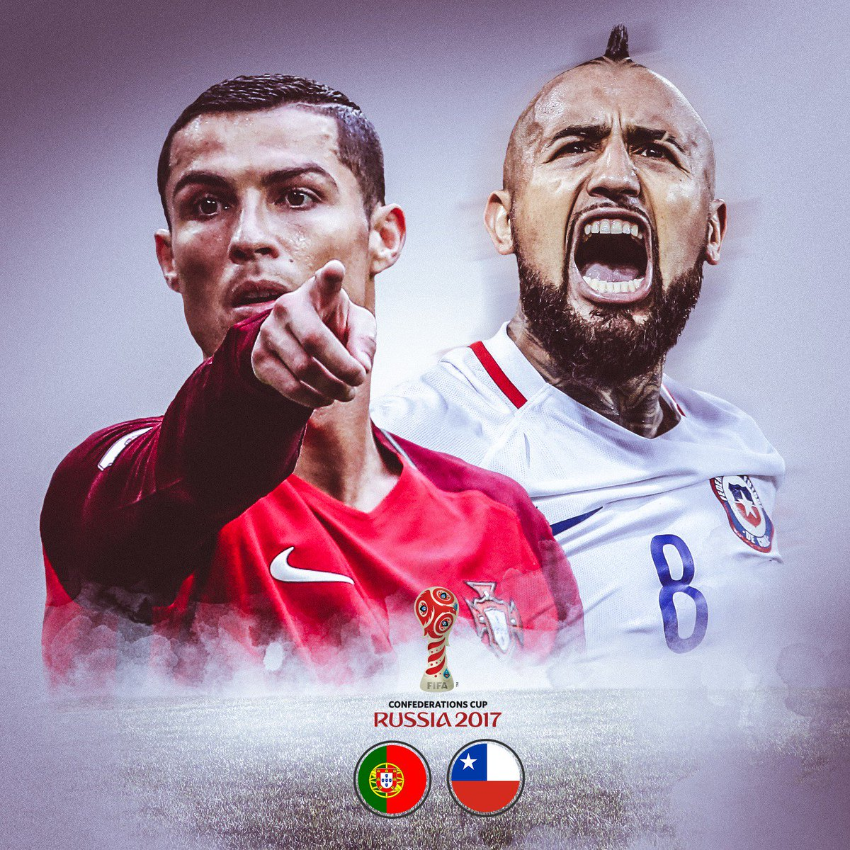 MATCHDAY! 🇵🇹 vs. 🇨🇱  @Cristiano vs. @kingarturo23  Was sind eure Tipps...