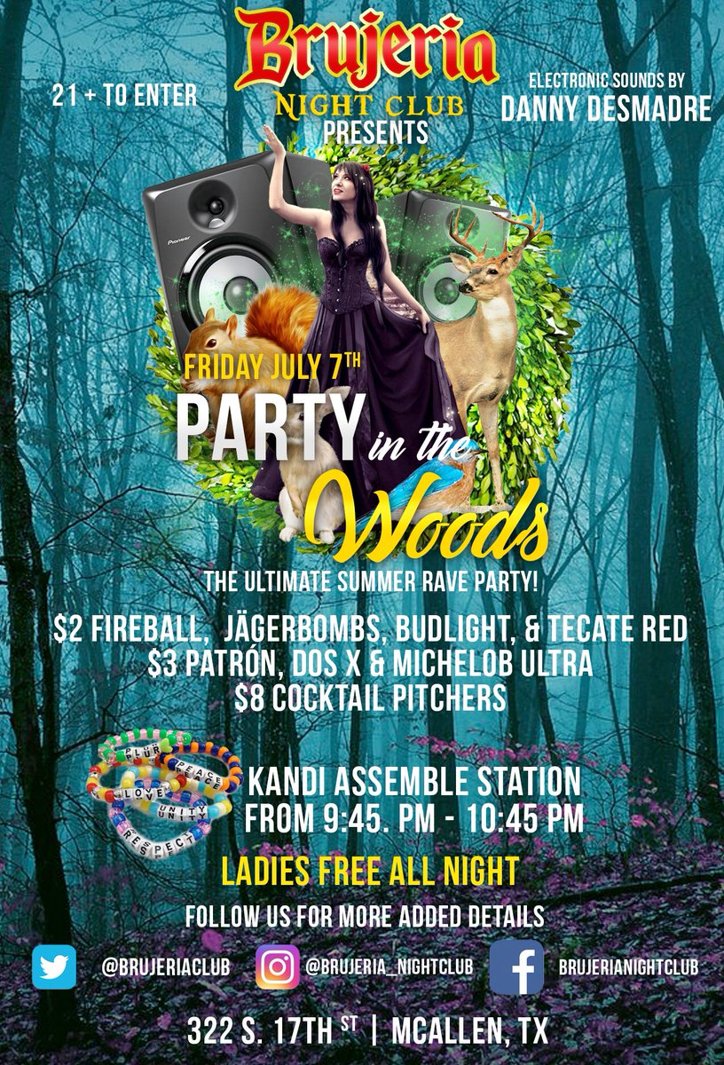 You ready for the party of them all!?! #PartyInTheWoods #BrujeriaNightClub #PLUR #Djlife #rave #party<br>http://pic.twitter.com/MIQBfc66Sa