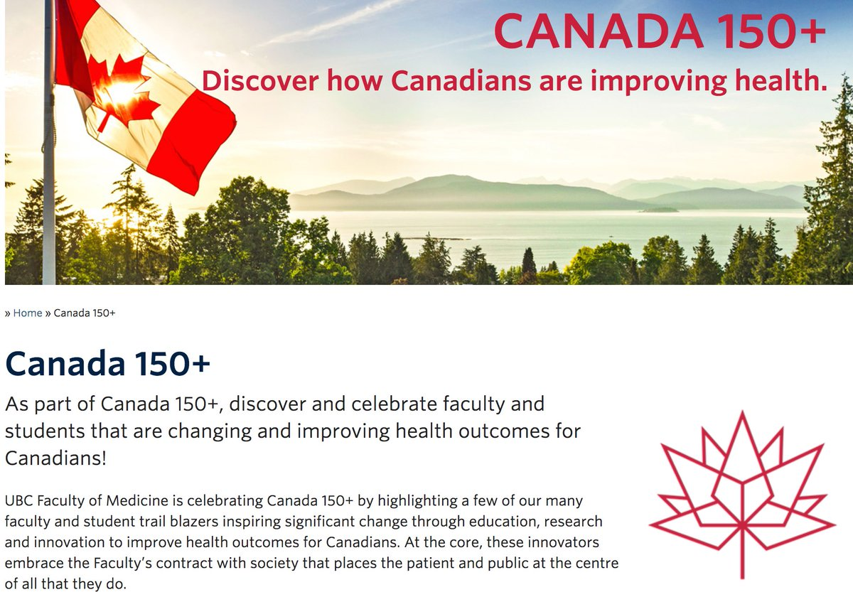Honored to be featured as one of @UBC @UBCmedicine&#39;s #Canada150  Diverse group of #Trailblazers!  http://www. med.ubc.ca/canada-150/  &nbsp;   @UBCDoM @UBCMeds<br>http://pic.twitter.com/3VCSVJfsjP