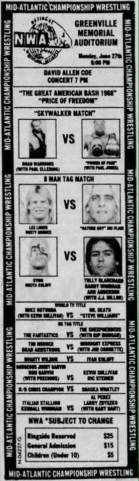 29 years ago tonight in #Greenville #SouthCarolina! Great Anerican Bash &#39;88! Horsemen vs Sting Dusty Luger &amp; Nikita!  http:// NWALegends.com  &nbsp;  <br>http://pic.twitter.com/7JoSulswfu