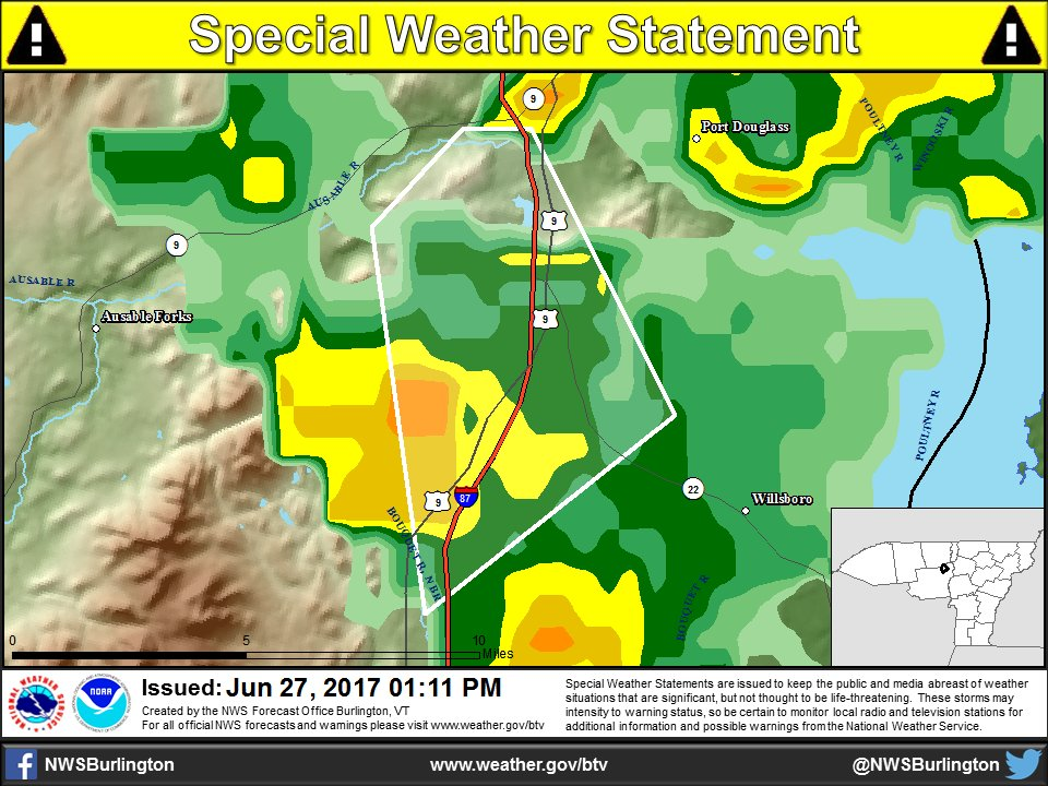 test Twitter Media - 1:11 PM - Special Weather Statement for a strong thunderstorm in East Essex, NY County.  https://t.co/jMp6hF0PTp https://t.co/epk2ovb4ws