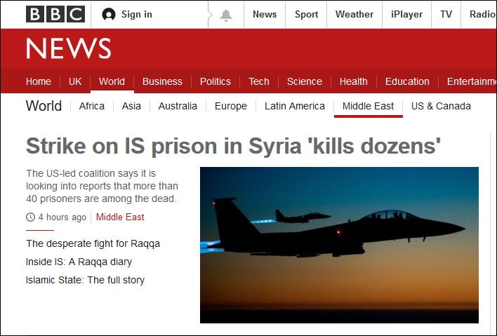How odd that @BBCNews doesn&#39;t make it crystal-clear in the headline that it was a *US* airstrike. Imagine if it had been Russia. #Syria <br>http://pic.twitter.com/A9r4pIxu7Q
