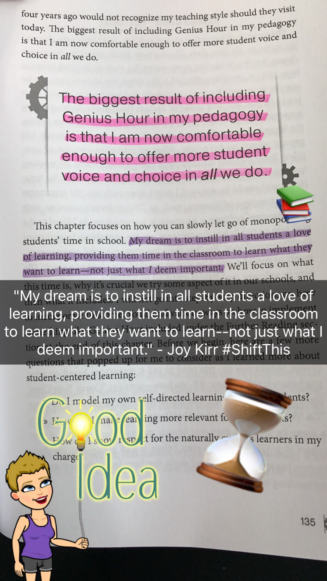 Goals for the new school year! #GeniusHour @JoyKirr @TaraMartinEDU #ShiftThis #BookSnaps https://t.co/nzZ3xlIEbX