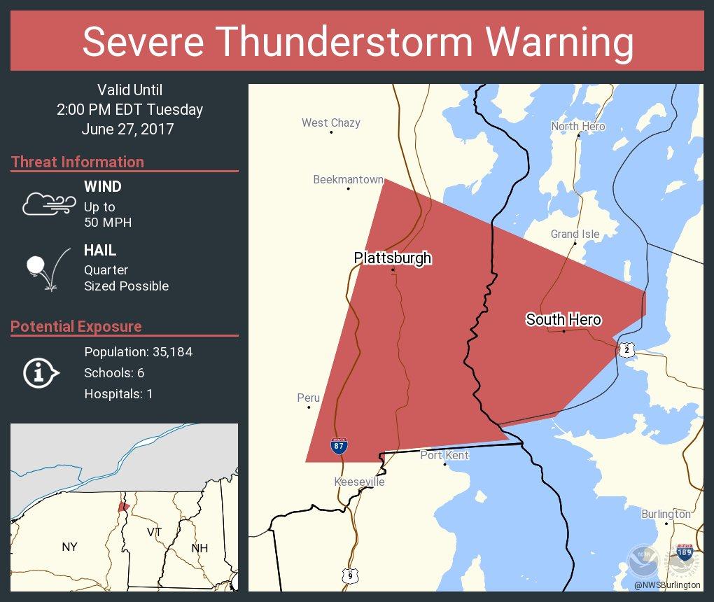 test Twitter Media - Severe Thunderstorm Warning continues for Plattsburgh NY, South Hero VT until 2:00 PM EDT https://t.co/gG6lTd15jI