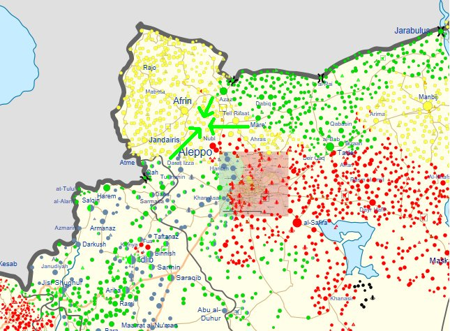 #Turkish army not only plans to take Tal Rifaat. It wants to isolate #Kurdish #YPG from all sides in Afrin. No access to #Aleppo. #Syria<br>http://pic.twitter.com/wNbdGXPkVg