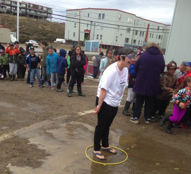Students at #Iqaluit #Nunavut&#39;s Joamie Elementary School soak principal @SonjaLonsdale to raise $600 for #Greenland #tsunami relief effort. <br>http://pic.twitter.com/rH9ujYzNbf