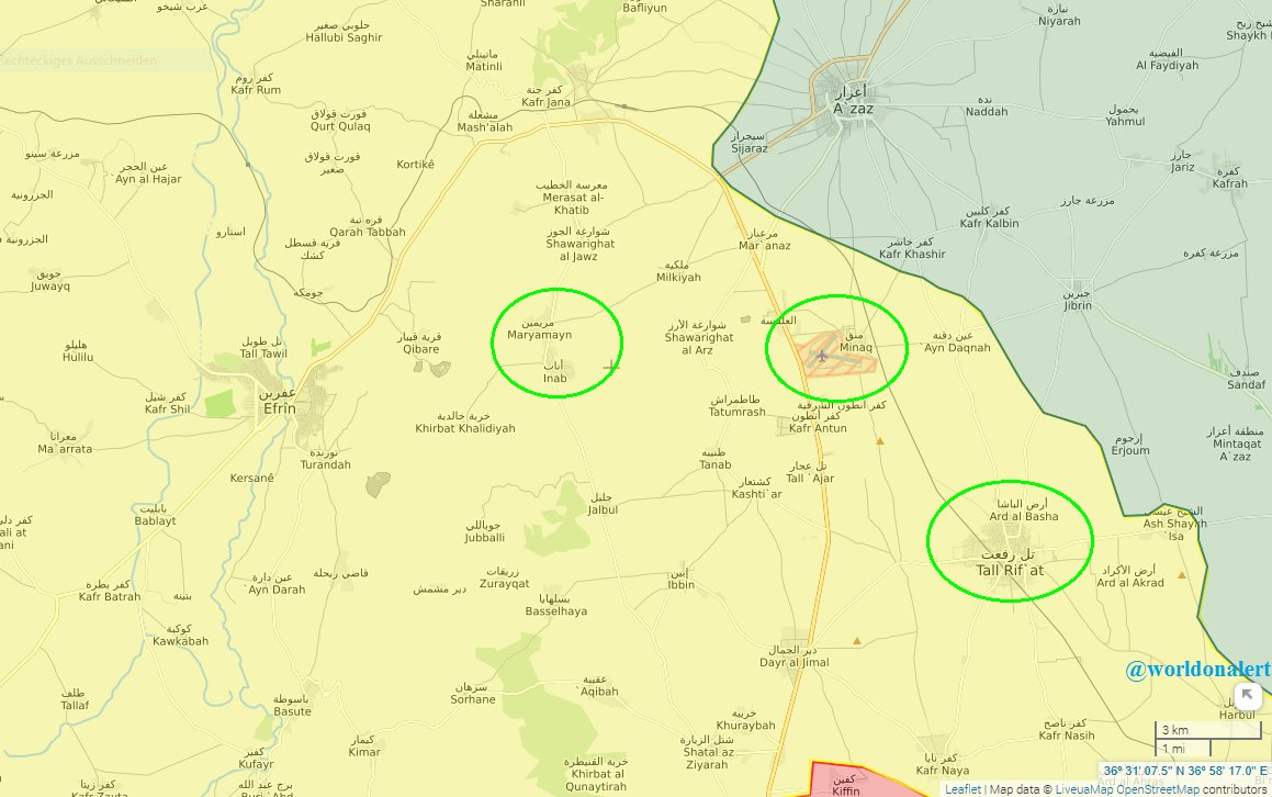 #Aleppo: First main targets of the Turkish-led offensive against #Afrin Canton will be: #Tal_Rifaat, #Menagh Airbase, #Maryamayn and #Inab.<br>http://pic.twitter.com/BzIUbZXl94