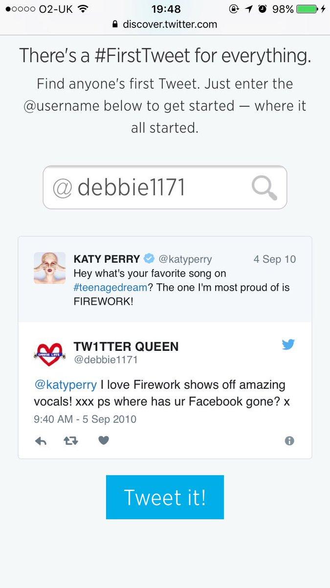 #MyFirstTweet was to @katyperry #FirstTweet:  https:// twitter.com/debbie1171/sta tuses/23044443300 &nbsp; … . What was yours?  http:// first-tweets.com  &nbsp;   #Katycats <br>http://pic.twitter.com/vWRpHLhvyr