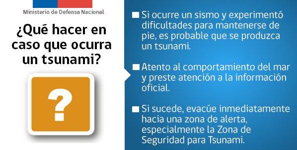 RT @mindefchile ¿Qué hacer en caso que ocurra un 🌊 tsunami 🌊? Infórmate de todas las medidas de prevención en https://t.co/sWwGFSXZtX 👈🏽 @reddeemergencia