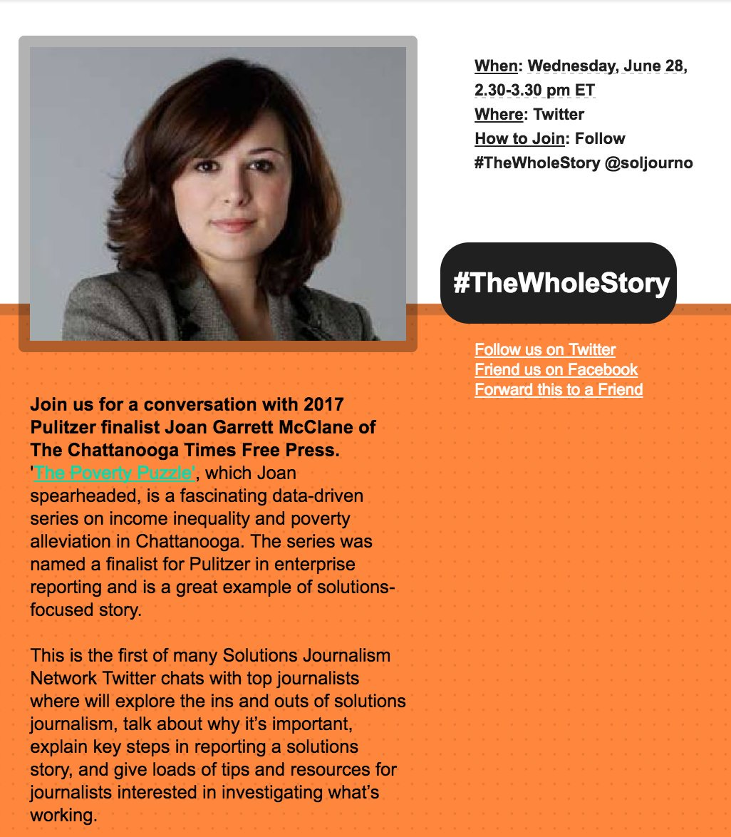 Join us tomorrow at 2:30 p.m. EDT as we take part in @soljourno's #TheWholeStory chat, ft. Pulitzer finalist @JoanMcClaneCTFP! https://t.co/iomuOjiOLP