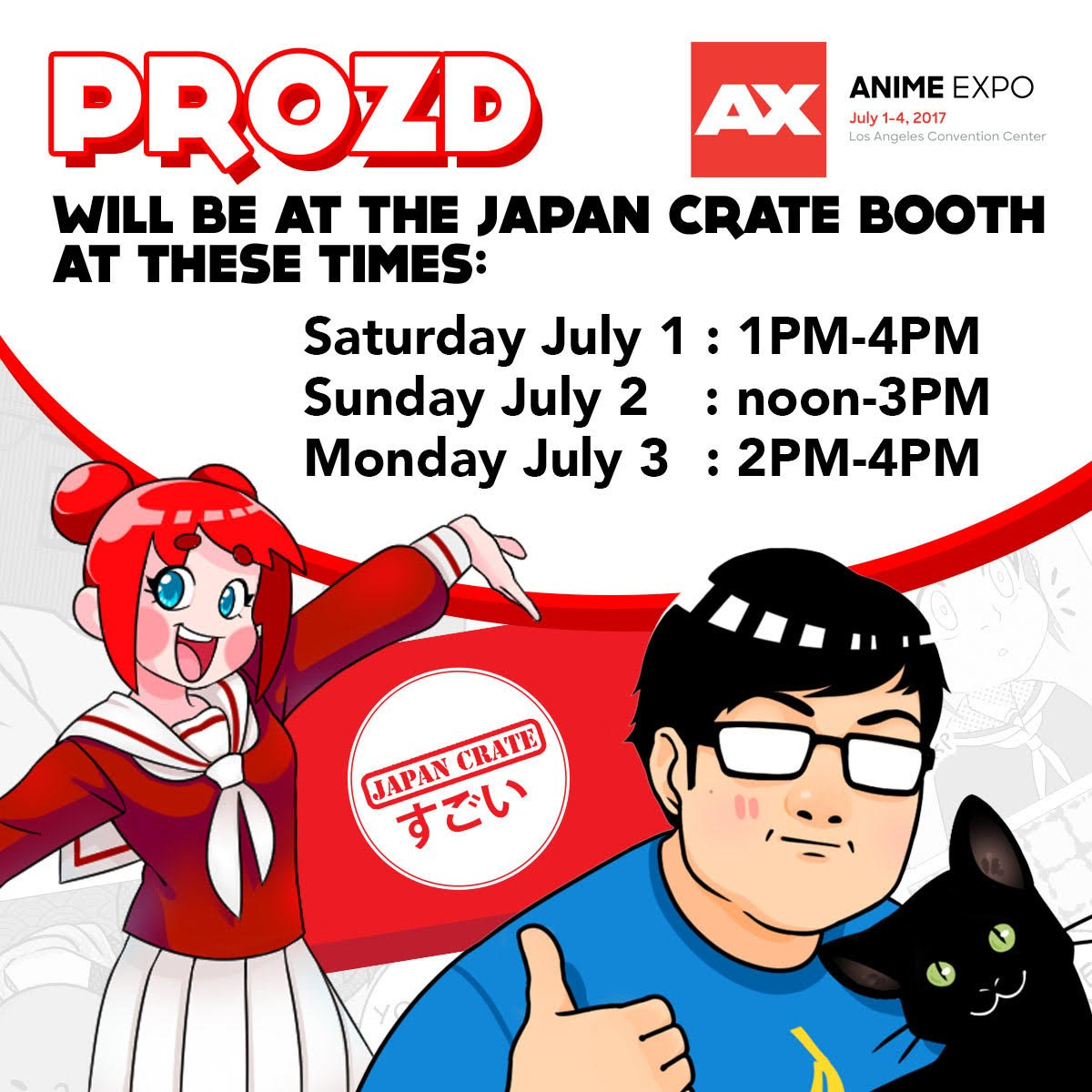 """sungwon cho (prozd) on twitter: """"here's my anime expo schedule, i'll"""