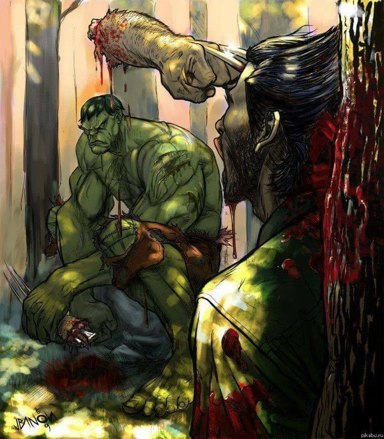 Ok, that might leave a mark..but just for a little bit! :) #WolverineWednesday #Hulk #FanArt<br>http://pic.twitter.com/5eGlqxCNYe