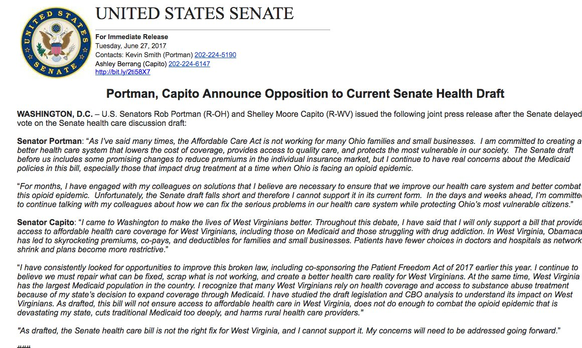 Well, we know where Portman and Capito are on the Senate health care bill now.