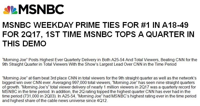 Thanks to our viewers: 'Morning Joe' had MSNBC's highest rating ever in the time period in the key demographic last quarter.