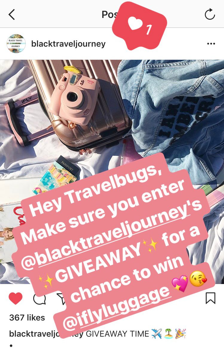 #GIVEAWAY ALERTMake sure you follow #BlackTravelJourney &amp; @iFLYluggage on #Instagram for a chance to WIN! #iFLYluggage #TravelTuesday #RTW<br>http://pic.twitter.com/Yq6QyDLsTF