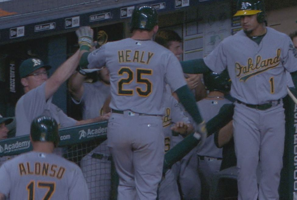 That granny was Healy's **18th HR** this season.  #Athletics https://t...