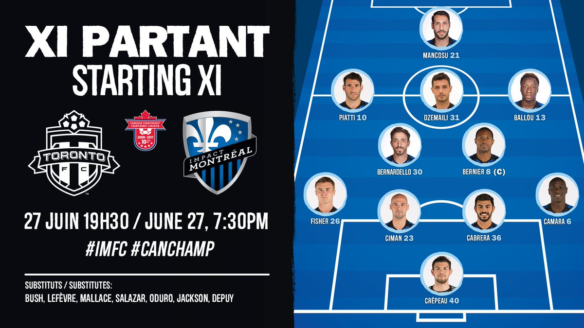 Voici VOTRE XI partant contre #TFC Here's YOUR starting XI against @To...