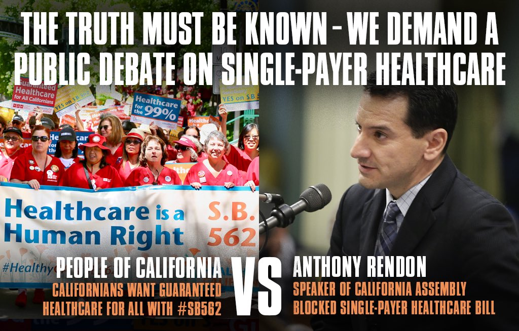 People of CA vs. Anthony Rendon  Californians want #SinglePayer, @Rendon63rd won&#39;t let that happen. He owes us the truth!  #TuesdayThoughts <br>http://pic.twitter.com/MfIxnKu8F8