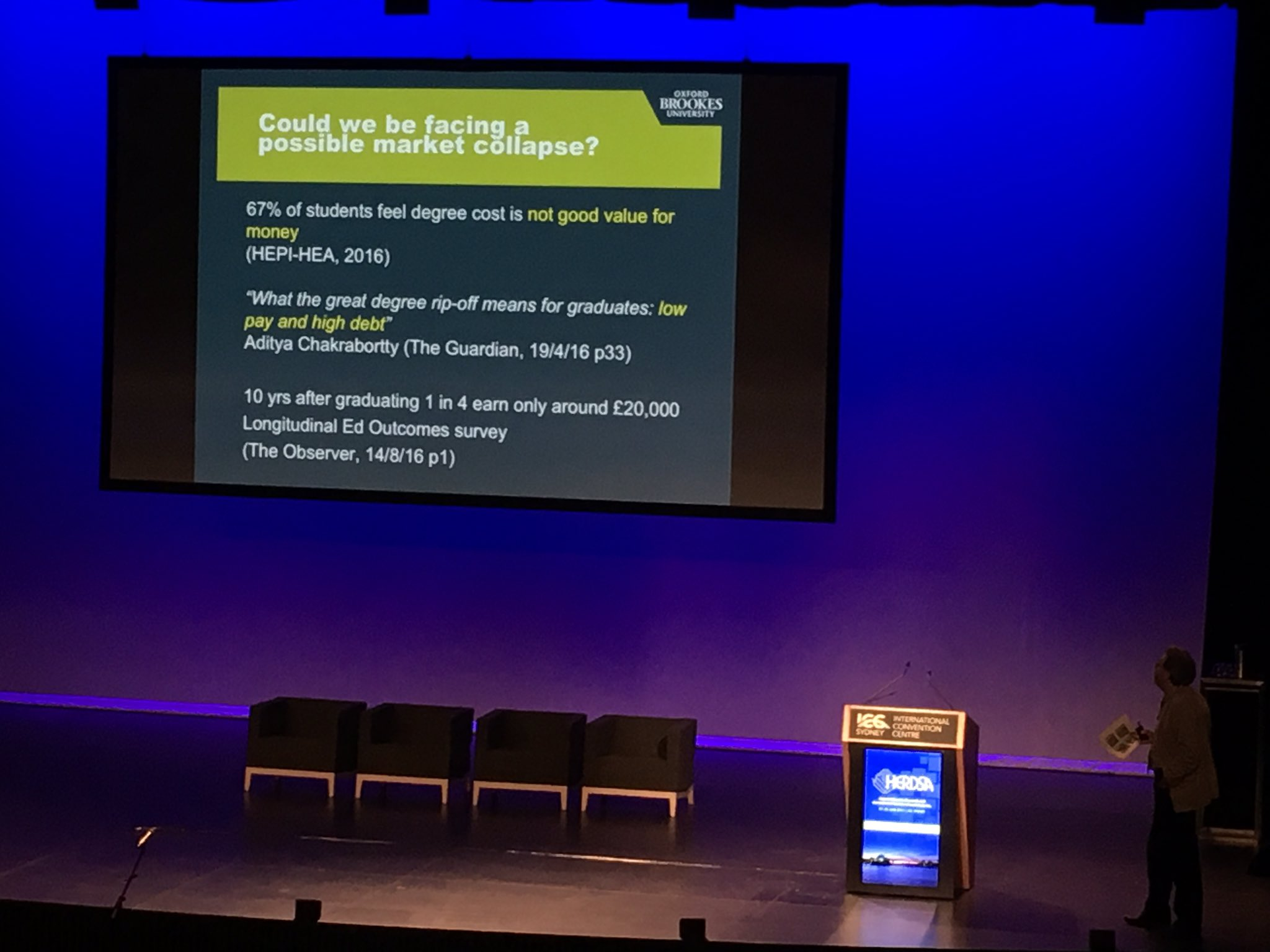 Rust questions the notion of students as consumers. They are not satisfied with #highered. #HERDSA17 https://t.co/5vWFFc6sAi