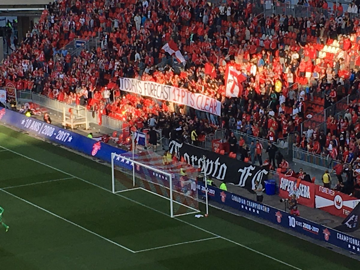 Cheeky banner from TFC supporters. #canchamp #TORvMTL https://t.co/oQRNGyqsJR